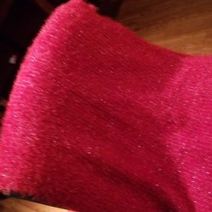 Betsey Johnson red glittery long scarf